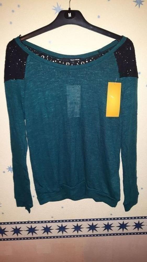 Nowy sweter sweterek tally weijl zielony koronka 36S