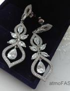 biżuteria ślubna komplet kolczyki bransoletka kryształki hit we...