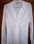 Biała bluzka falbanki prążki 44 46