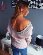 Pudrowy sweter bluzka ze złotą lamówką Nowa