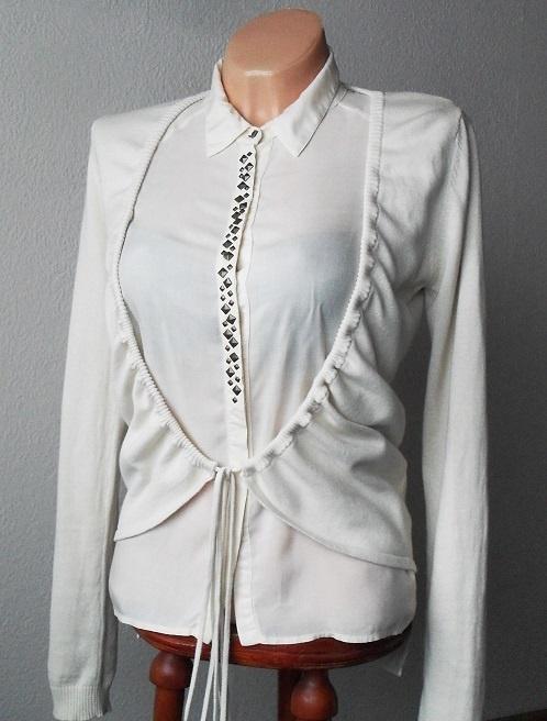 Beżowa narzutka sweter bolerko 38 40