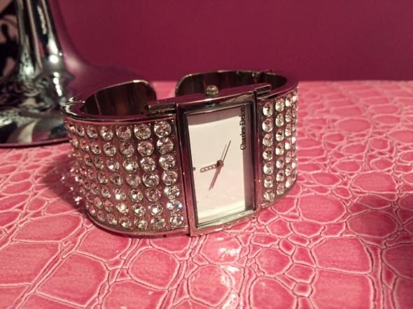 Exclusive srebrny zegarek Charles Delon kryształy