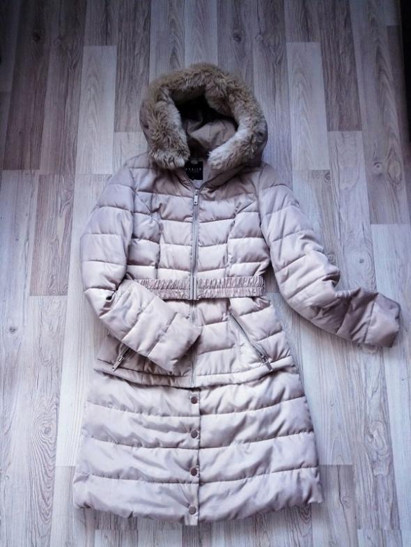 Beżowy zimowy płaszcz płaszczyk Mohito kurtka zimowa...