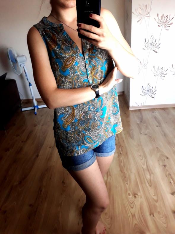 elegancka bluzka na ramiączkach wzorzysta S M L zwiewna