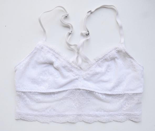 Bralette Stanik Koronkowy Biały Abercrombie&Fitch S 36...