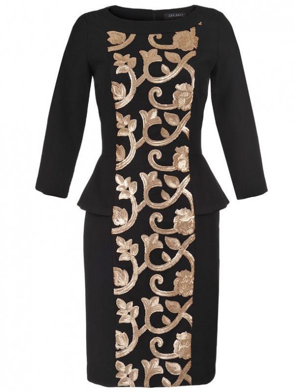 Sukienka złota aplikacja studniówka Zara H&M retro 34 XS