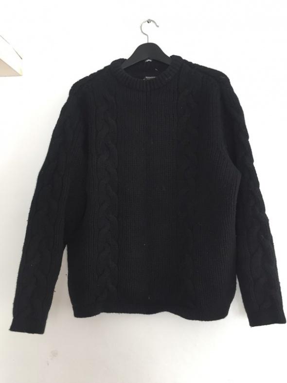Mega ciepły gruby sweter oversize warkocz