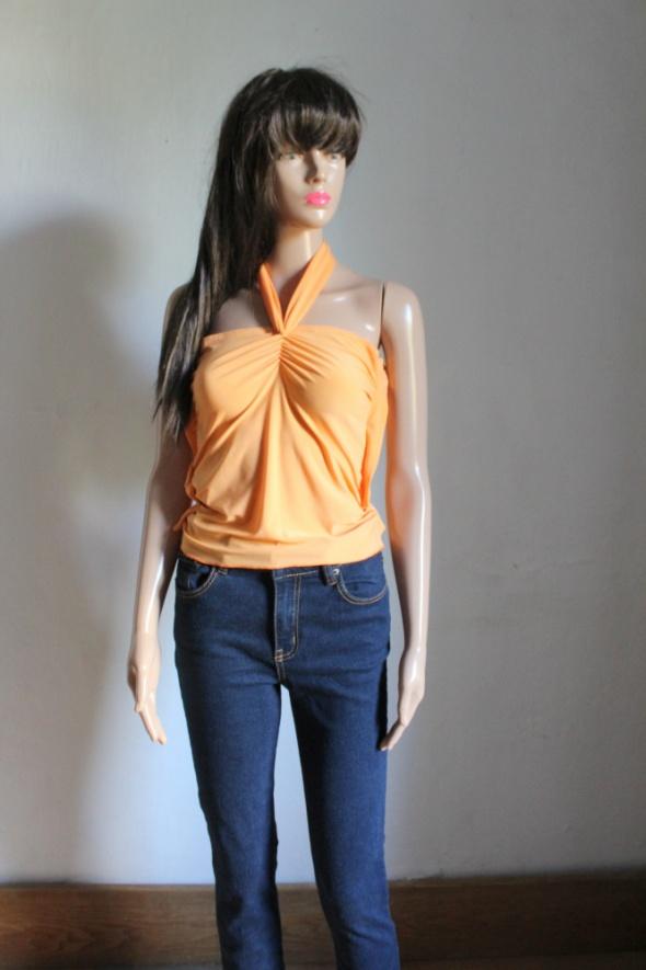 Pomarańczowa bluzka halterneck dopasowana r około S...