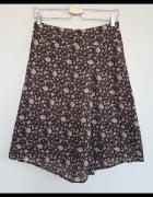 Asymetryczna spódnica Orsay brązowa w miętowe i różowe kwiatusz...