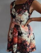Sukienka Zara Żakardowa Kwiaty Floral