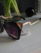 Okulary przeciwsłoneczne cat eye złote wykończenie...