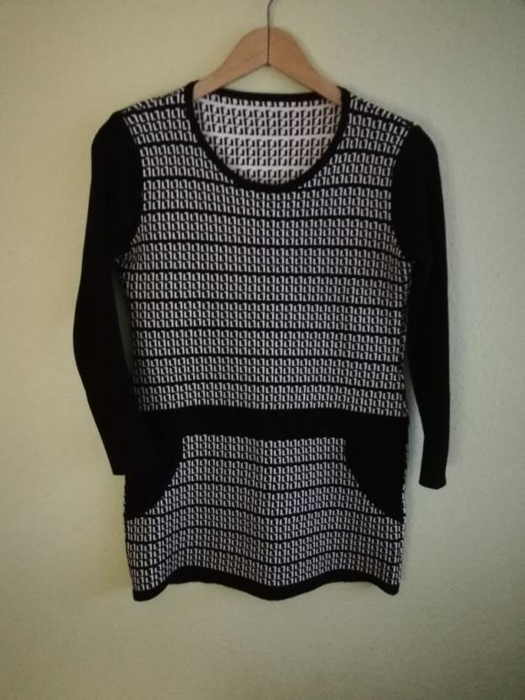 Sweter długi tunika biało czarny XL