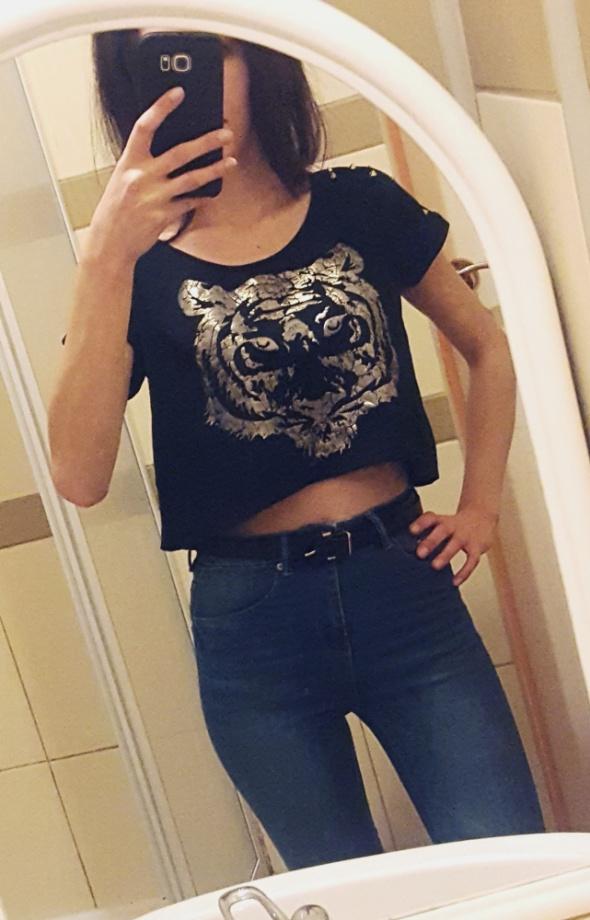 Czarna bluzka z tygrysem Tally Weijl L...