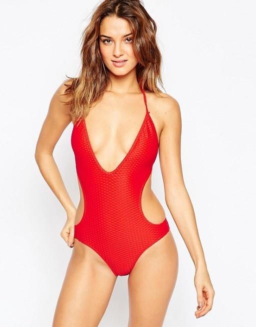 Czerwony strój kostium kąpielowy jednoczęściowy monokini...