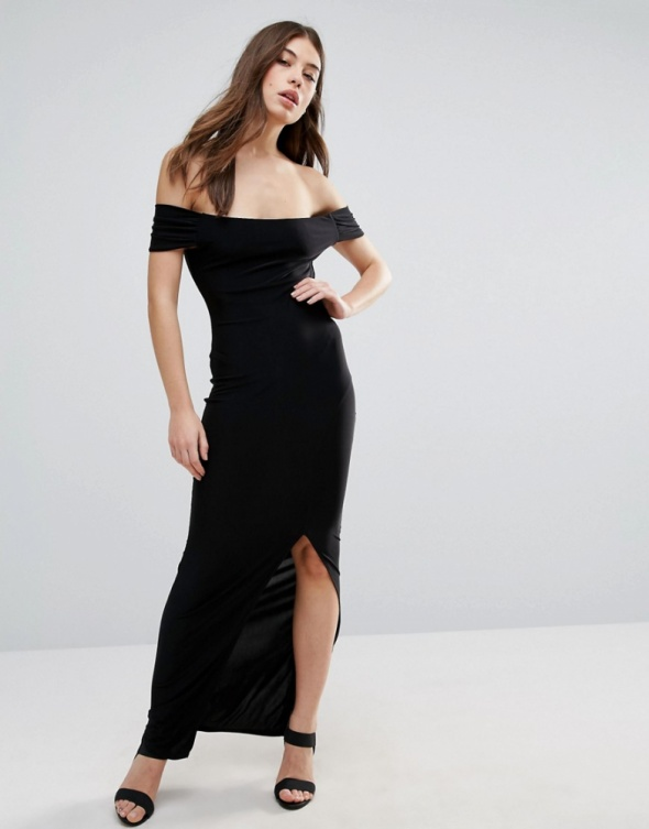 1f50a8db0f Suknie i sukienki Długa czarna sukienka z rozcieciem rozcięcie odkryte  ramiona hiszpanka