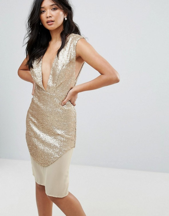 Złota sukienka w cekiny