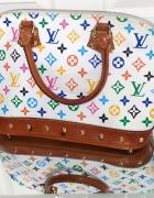 Biała torebka z kolorowym logo Louis Vuitton LV...