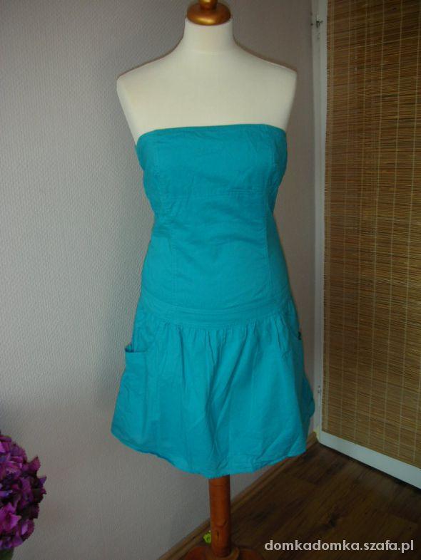 Sukienka bez ramiączek Troll turkusowa morska