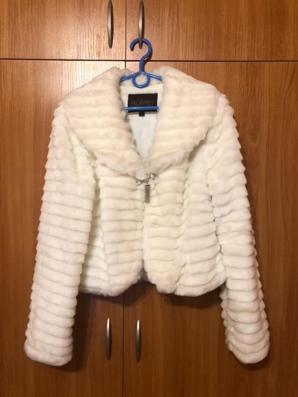 futrzana kurtka białe futerko narzutka