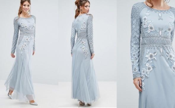 Frock and Frill sukienka koraliki błękitna 36 S...