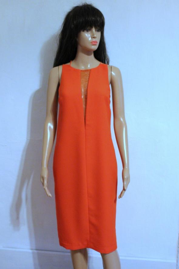 Pomarańczowa sukienka na ramiączkach gołe plecy r 44...