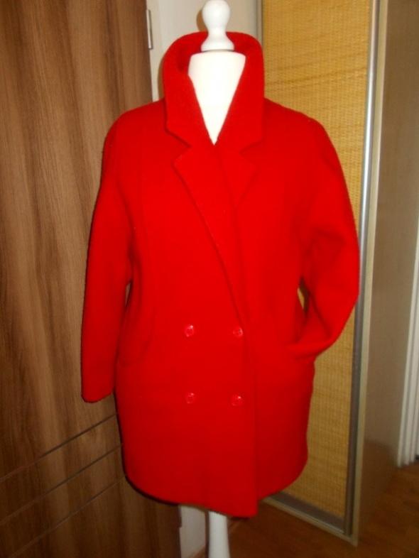 płaszcz wełna makowa czerwień 46