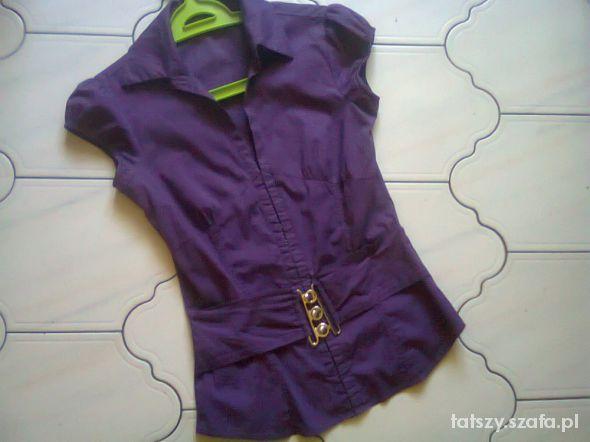 Bluzki Fioletowa bluzeczka z paskiem