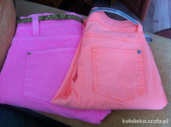 Neonowe skinny jeans Rurki róż Denim Co