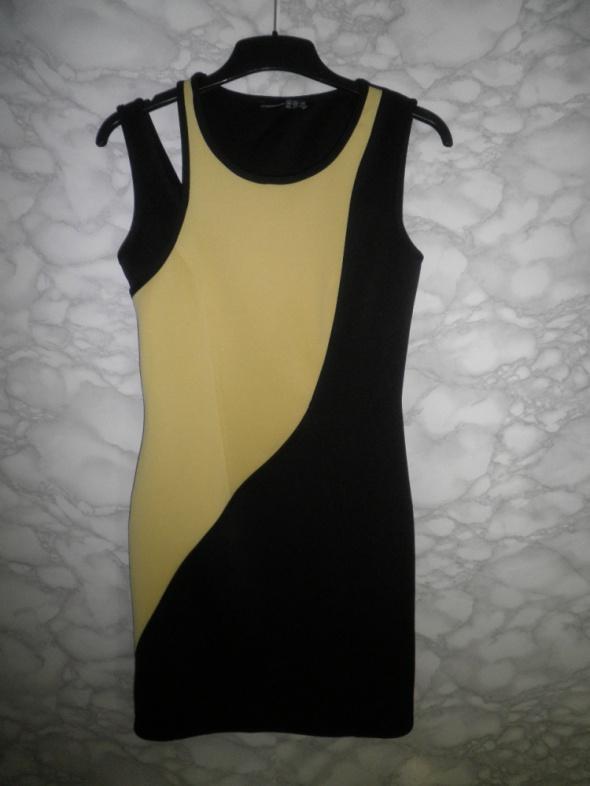 Atmosphere czarno żółta sukienka pianka neopren bodycon dopasow...