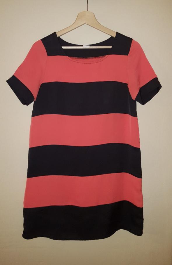 Krótka sukienka tunika w paski czarno łososiowe XS...