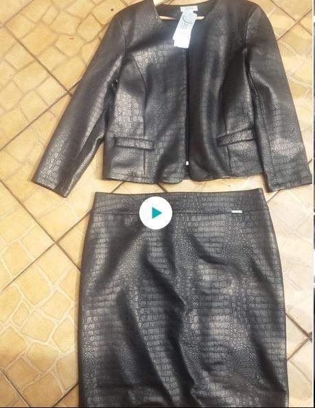 Komplet spódnica żakiet długi rękaw kol czarny rozm 48 i 50...