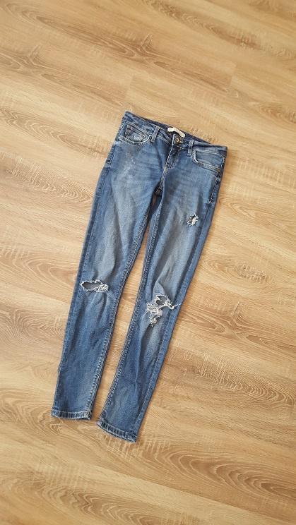 Zara jeansowe rurki Denim dziury przetarcia XS S