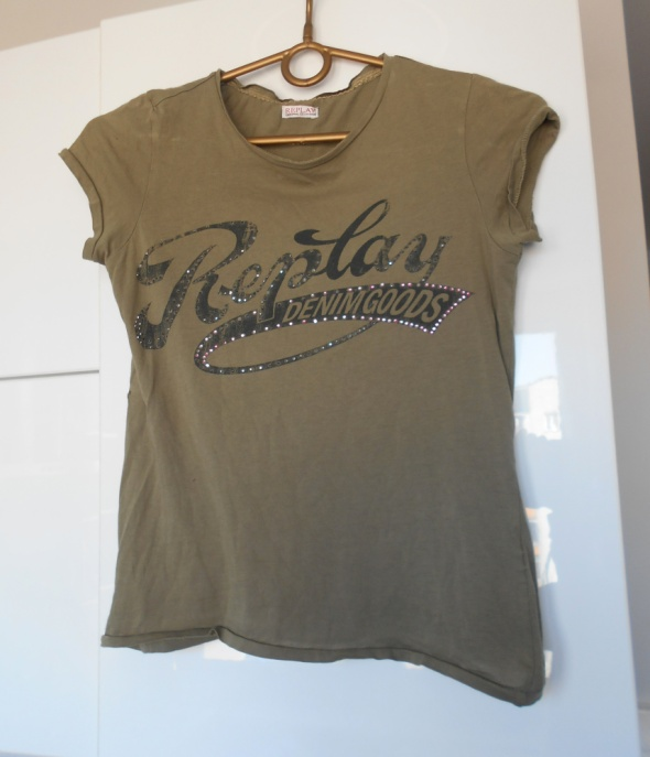 Replay khaki koszulka tshirt napis...