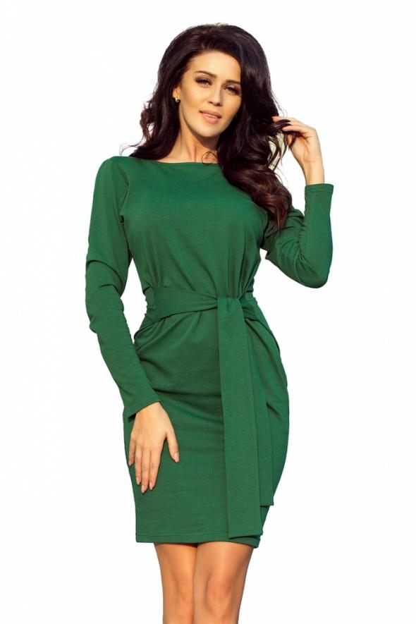 Suknie i sukienki Sukienka z szerokim wiązanym PASKIEM ZIELEŃ BUTELKOWA