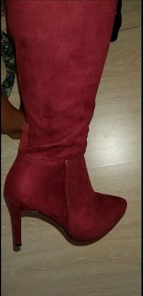 Sexi kozaki muszkieterki za kolano obcasy szpilki burgund czerwień red