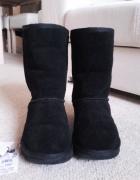 Reserved czarne skórzane śniegowce jak emu 26 cm jak nowe...