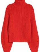 H&M Premium CZERWONY sweter Wełna Kaszmir 32 XXS jak ZARA...