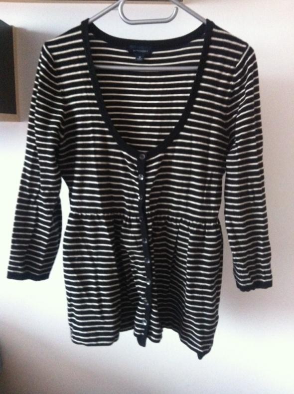 Kardigan sweterek bazowy paski H&M M L basic czarn...