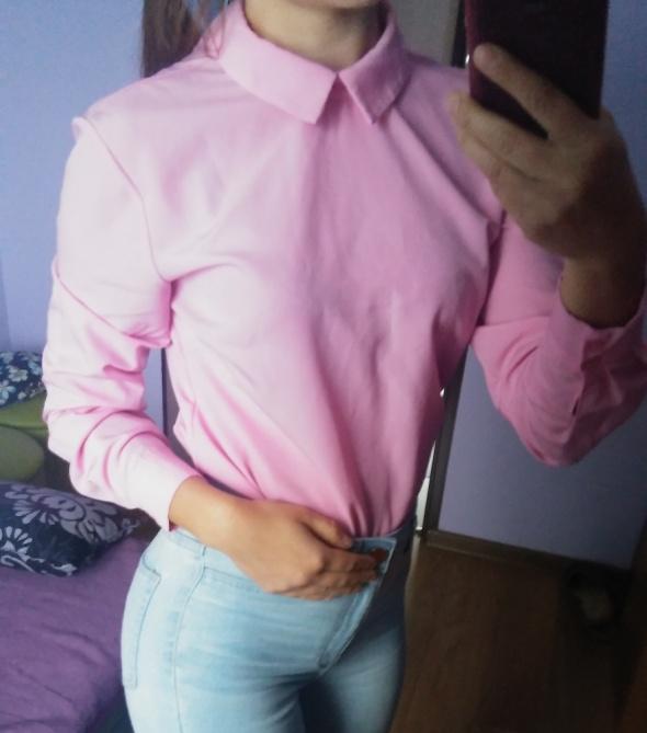 Koszula neon róż kołnierzyk S