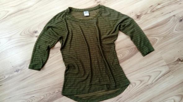 Bluzeczka bluzka siatka koronka zielona rękaw XS...