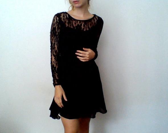 1b38ea9695b925 Czarna sukienka Clockhouse XS koronka długi rękaw w Suknie i ...