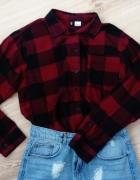 Koszula w kratę h&m długi rękaw krótka XXS XS