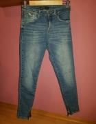 Spodnie jeansy rurki Zara dziury zamki