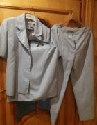 Komplet spódnica spodnie żakiet krótki rękaw błękitny rozm 44 4...