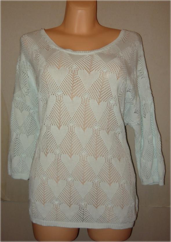 Next miętowy sweterek bluzka w serduszka piękny 46 48