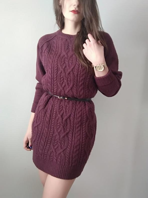 Sukienka bordowa sweterkowa rozm M warkocze