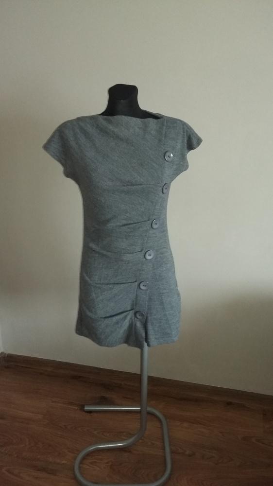 Dzianinowa szara sukienka M