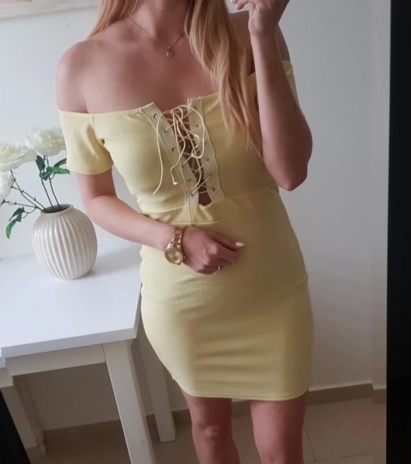Prettylittlething sukienka jasna żółć słoneczna hiszpanka odkryte ramiona wiązany dekolt M
