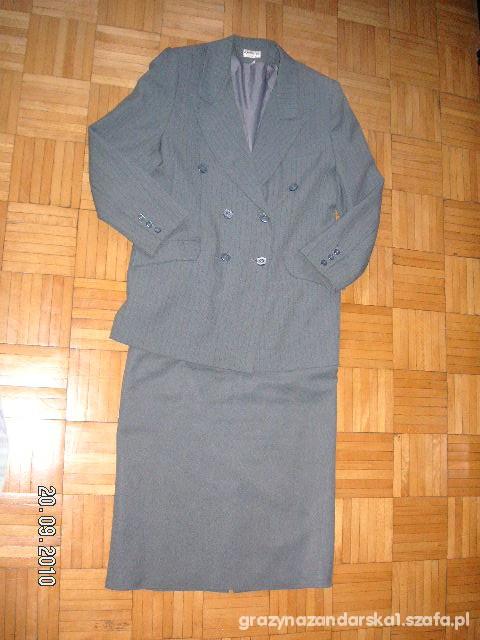 Garsonka 42 szara Kostium Zakiet Spodnica XL