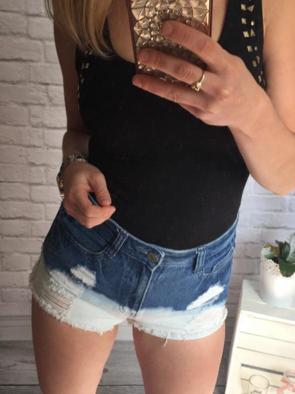 Jeansowe spodenki ombre wysoki stan MEGA